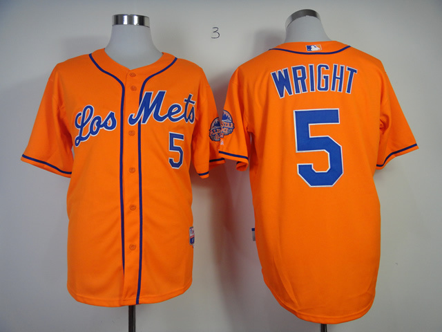 Men New York Mets 5 Wright Orange MLB Jerseys