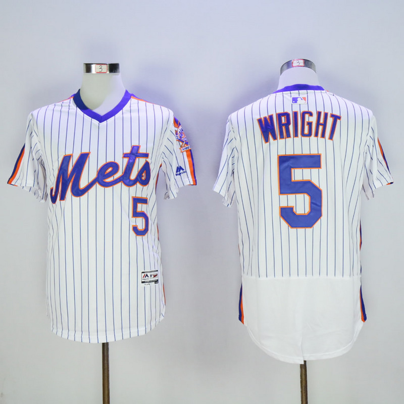 Men New York Mets 5 Wright White Elite MLB Jerseys