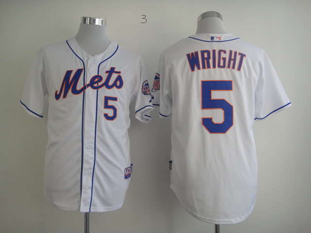 Men New York Mets 5 Wright White MLB Jerseys