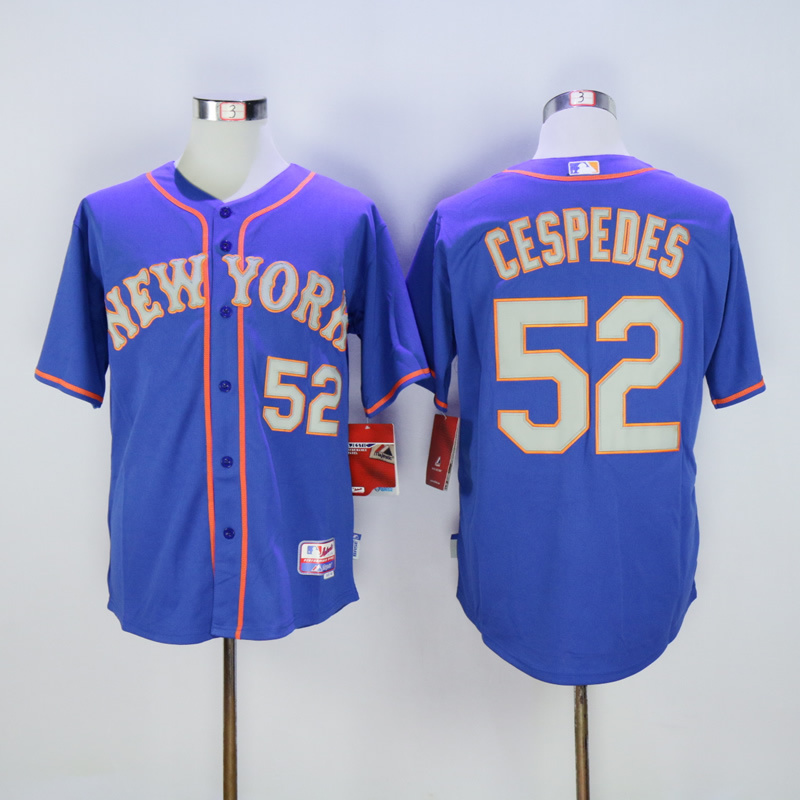 Men New York Mets 52 Cespedes Blue MLB Jerseys