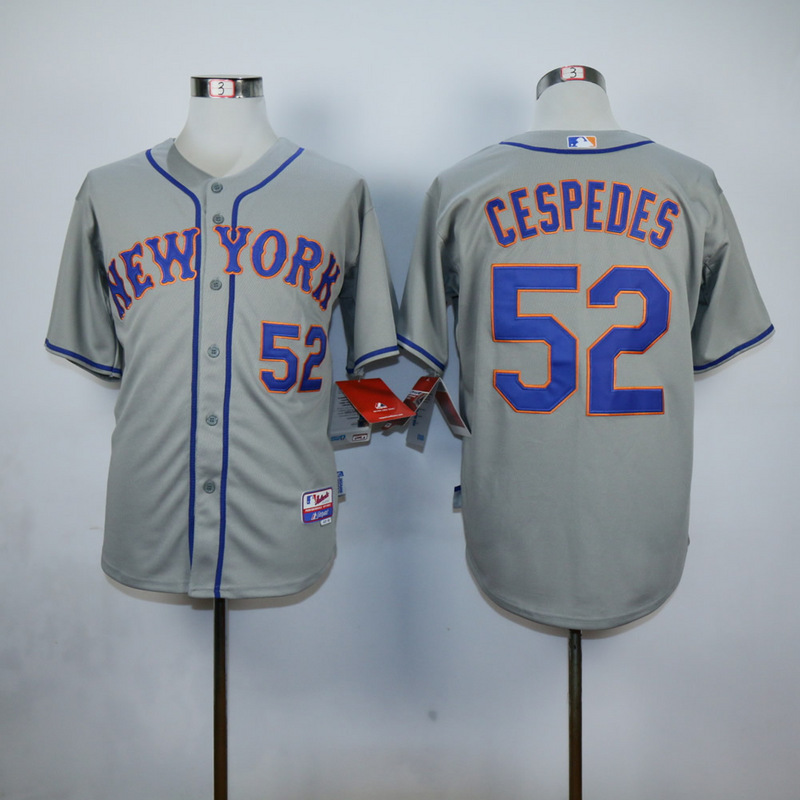 Men New York Mets 52 Cespedes Grey MLB Jerseys
