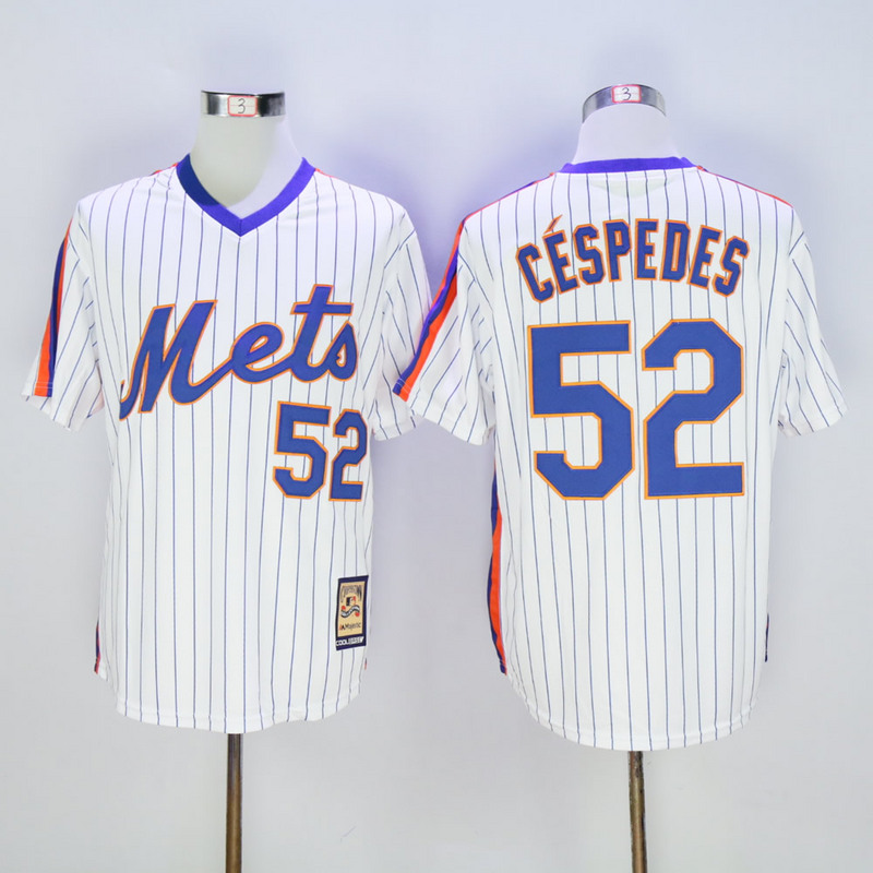 Men New York Mets 52 Cespedes White Throwback Game MLB Jerseys