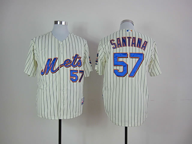 Men New York Mets 57 Santana Cream Stripe MLB Jerseys