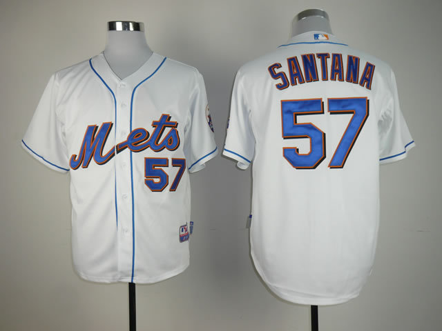 Men New York Mets 57 Santana White MLB Jerseys
