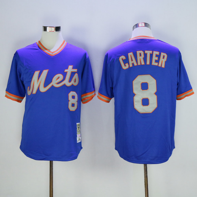 Men New York Mets 8 Carter Blue Throwback MLB Jerseys