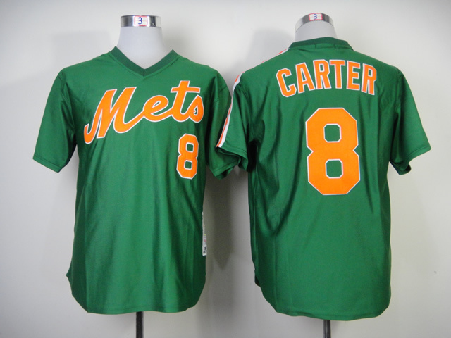 Men New York Mets 8 Carter Green Throwback 1985 MLB Jerseys