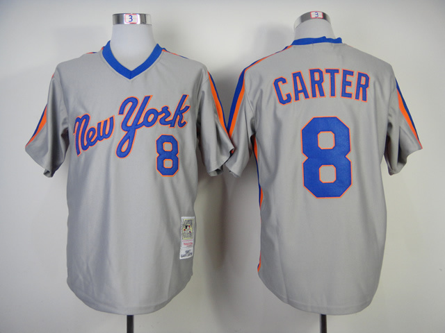 Men New York Mets 8 Carter Grey Throwback MLB Jerseys