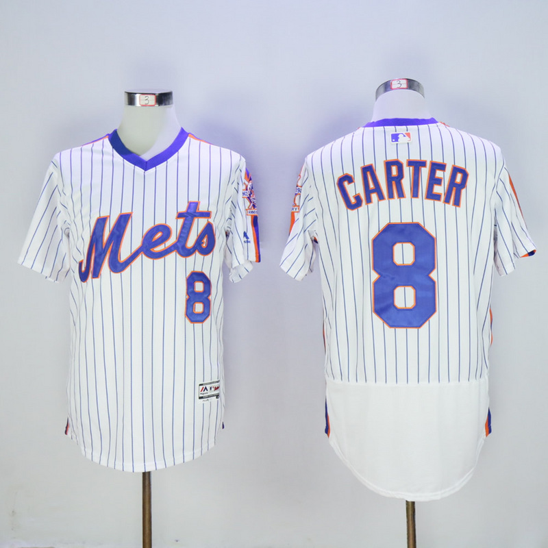 Men New York Mets 8 Carter White Elite MLB Jerseys