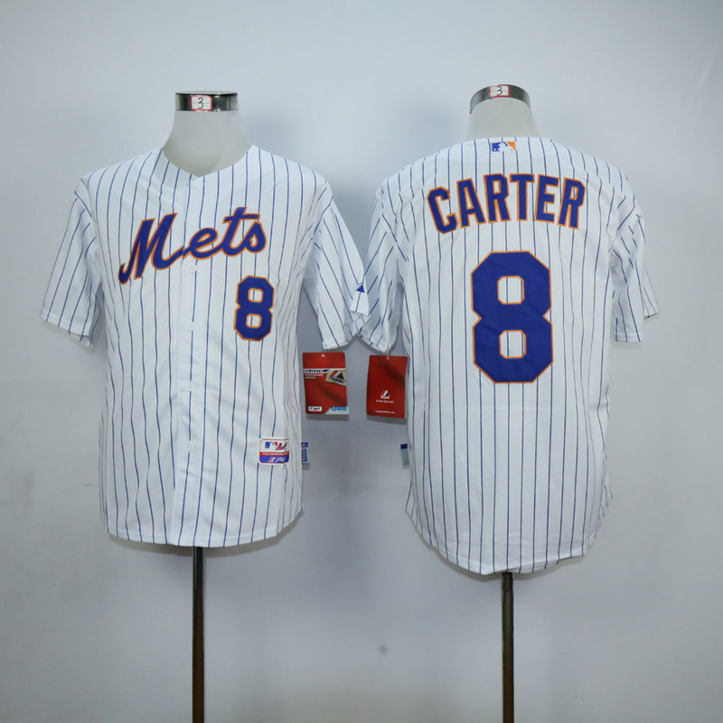 Men New York Mets 8 Carter White MLB Jerseys