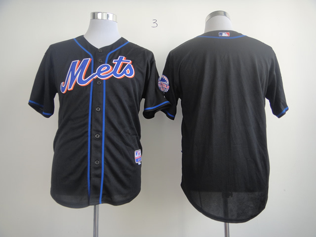 Men New York Mets Blank Black MLB Jerseys