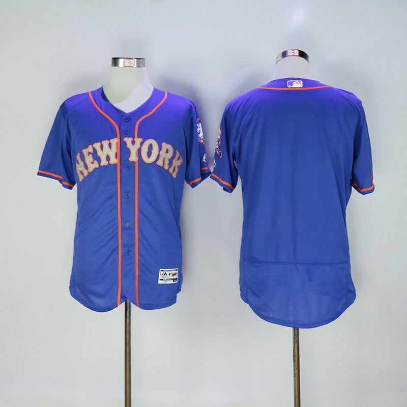 Men New York Mets Blank Blue Elite MLB Jerseys