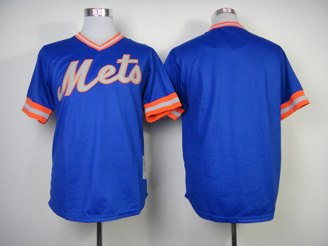 Men New York Mets Blank Blue Throwback 1983 MLB Jerseys