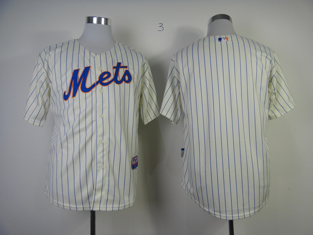 Men New York Mets Blank Cream Stripe MLB Jerseys