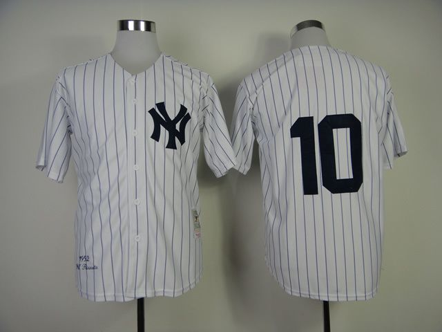 Men New York Yankees 10 No name White Throwback MLB Jerseys