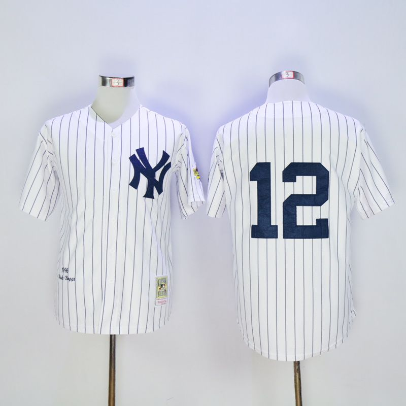 Men New York Yankees 12 No name White Throwback MLB Jerseys