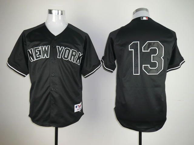 Men New York Yankees 13 No name Black MLB Jerseys