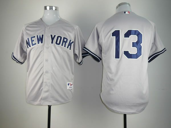 Men New York Yankees 13 No name Grey MLB Jerseys