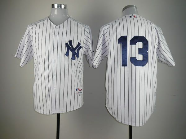 Men New York Yankees 13 No name White MLB Jerseys