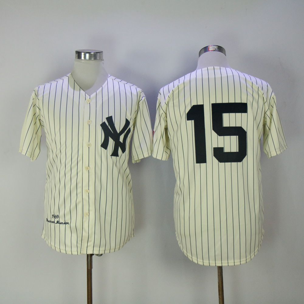 Men New York Yankees 15 No name Cream Throwback MLB Jerseys
