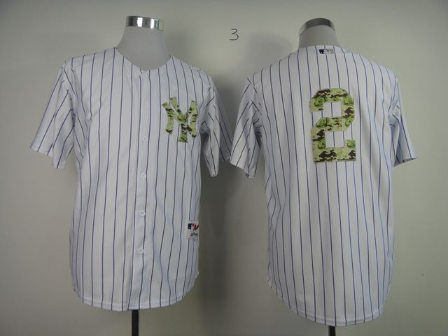 Men New York Yankees 2 Jeter White Camo MLB Jerseys