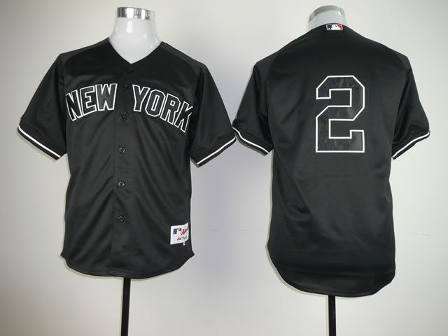 Men New York Yankees 2 No name Black MLB Jerseys