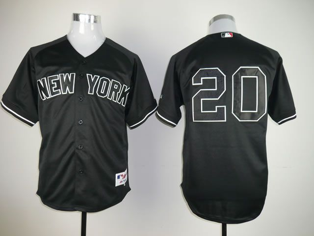 Men New York Yankees 20 No name Black MLB Jerseys
