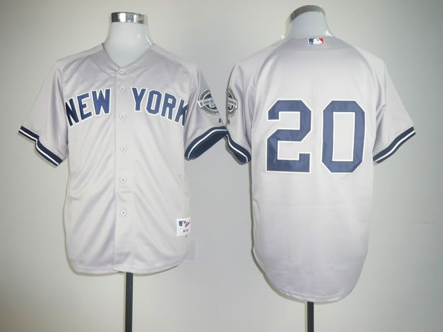 Men New York Yankees 20 No name Grey MLB Jerseys