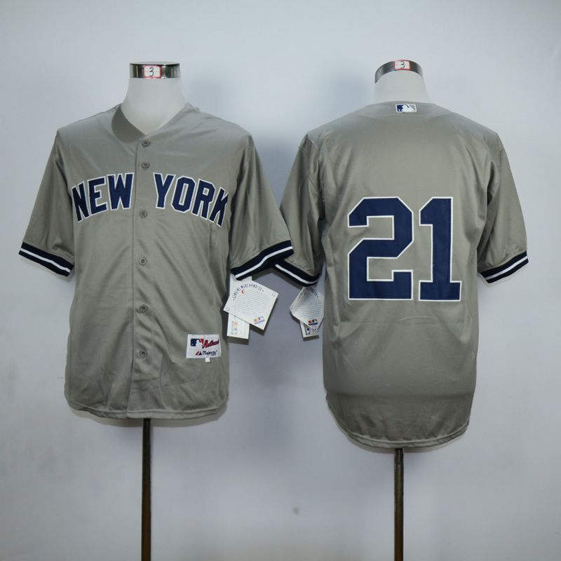 Men New York Yankees 21 No name Grey MLB Jerseys