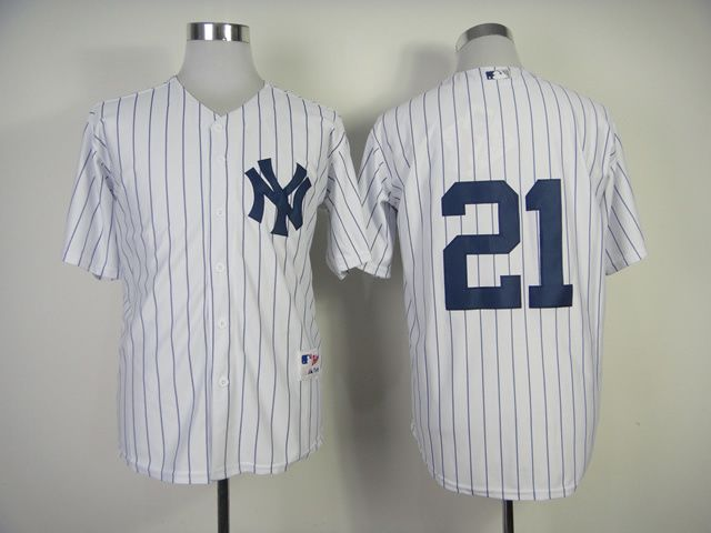 Men New York Yankees 21 No name White MLB Jerseys