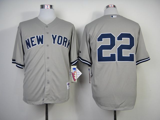 Men New York Yankees 22 No name Grey MLB Jerseys