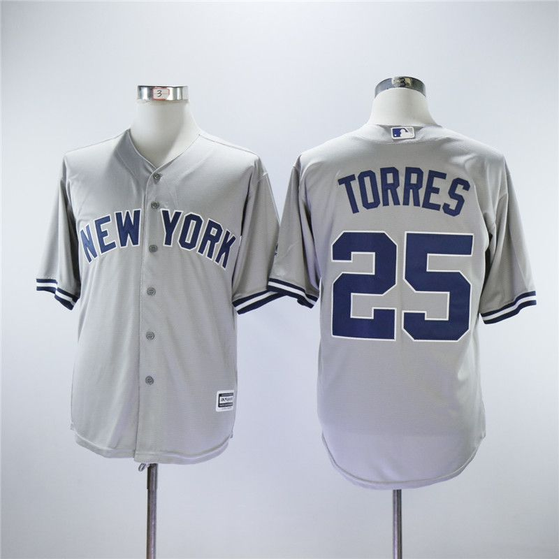 Men New York Yankees 25 Torres Grey MLB Jerseys