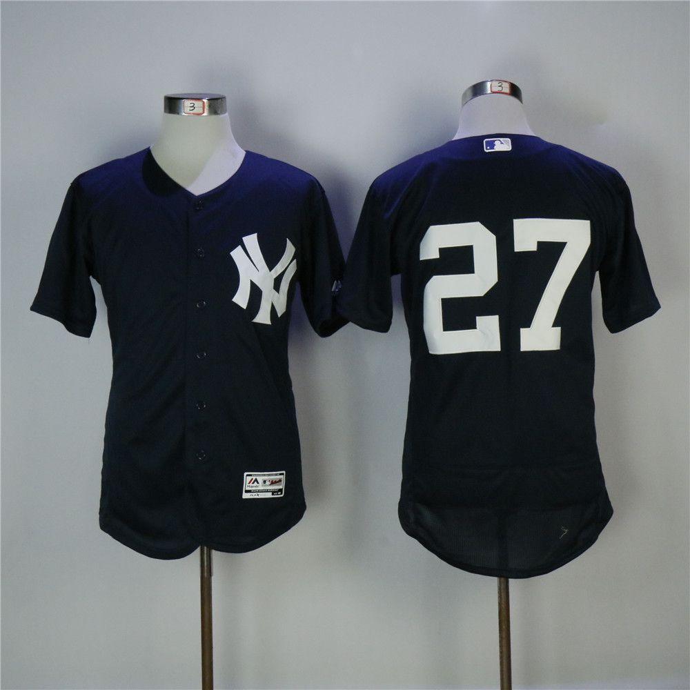 Men New York Yankees 27 No name Blue MLB Jerseys