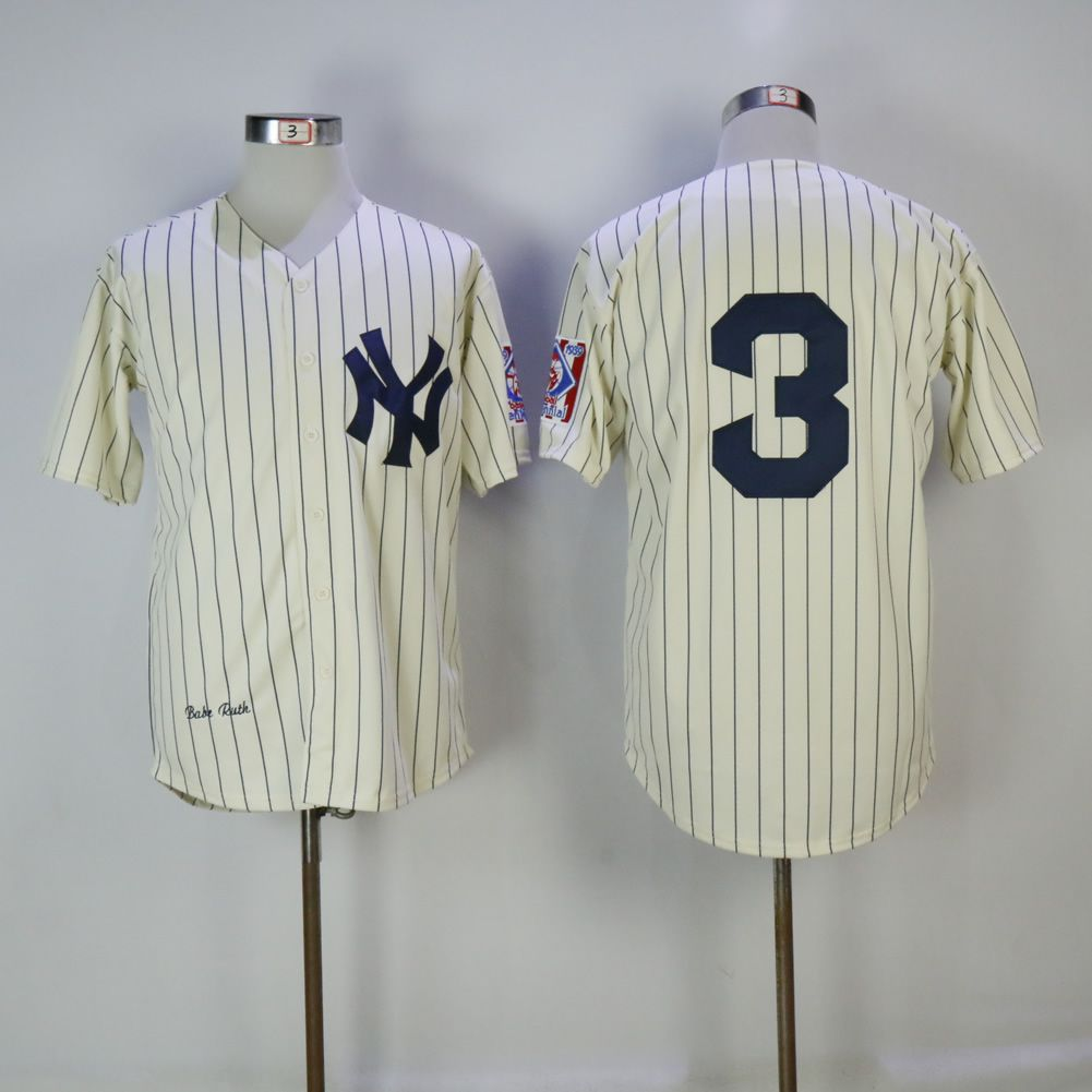 Men New York Yankees 3 No name Cream MLB Jerseys