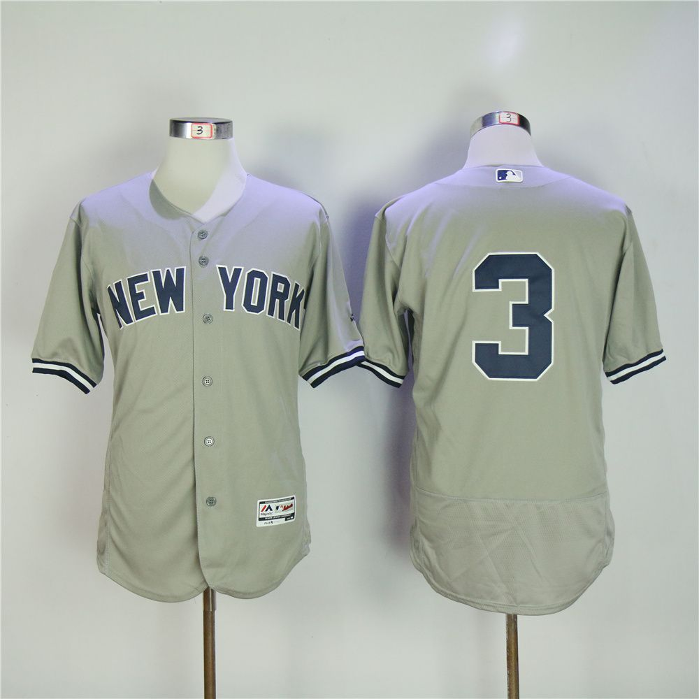 Men New York Yankees 3 No name Grey MLB Jerseys