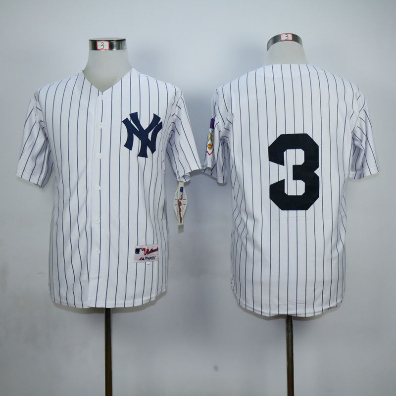 Men New York Yankees 3 No name White MLB Jerseys
