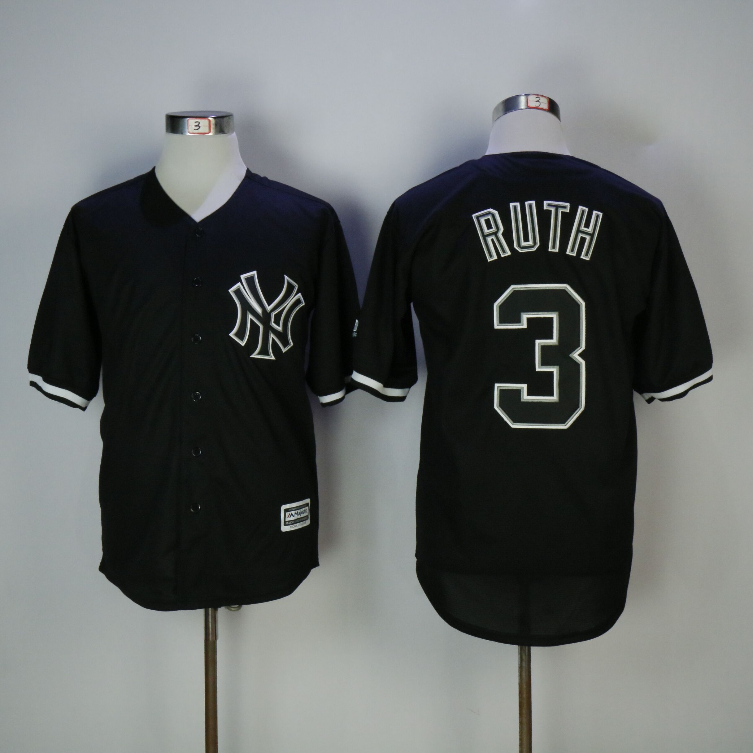 Men New York Yankees 3 Ruth Black MLB Jerseys