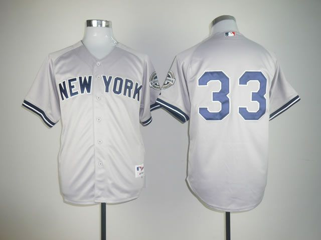 Men New York Yankees 33 No name Grey Throwback MLB Jerseys