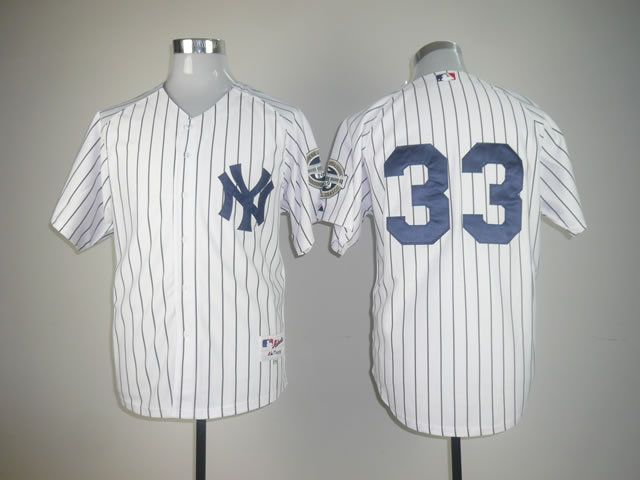 Men New York Yankees 33 No name White Throwback MLB Jerseys