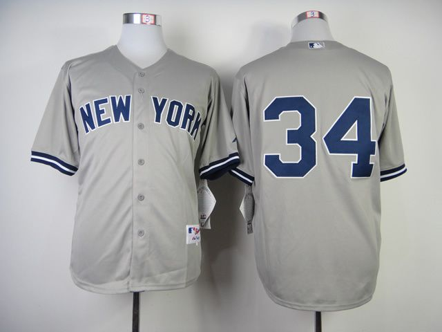 Men New York Yankees 34 No name Grey MLB Jerseys