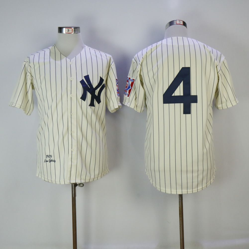 Men New York Yankees 4 Gehrig Cream Throwback MLB Jerseys