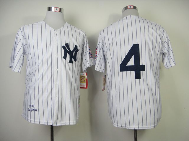 Men New York Yankees 4 Gehrig White Throwback MLB Jerseys