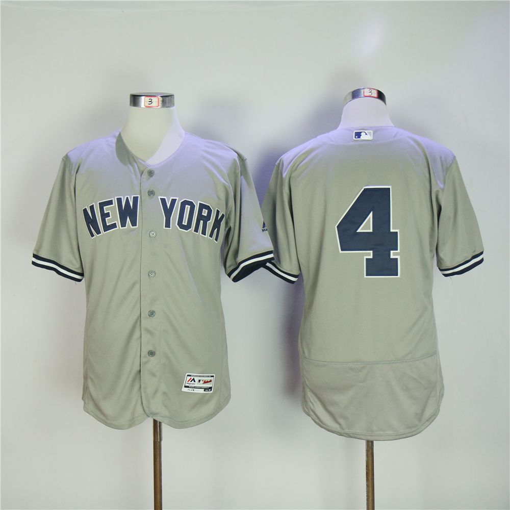 Men New York Yankees 4 No name Grey MLB Jerseys
