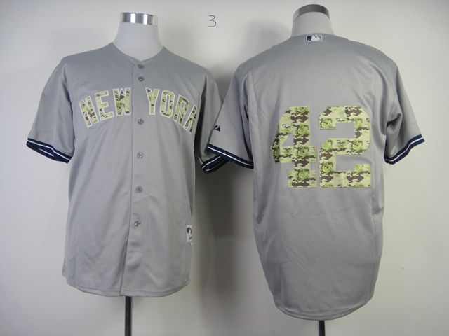 Men New York Yankees 42 Rivera Grey Camo MLB Jerseys