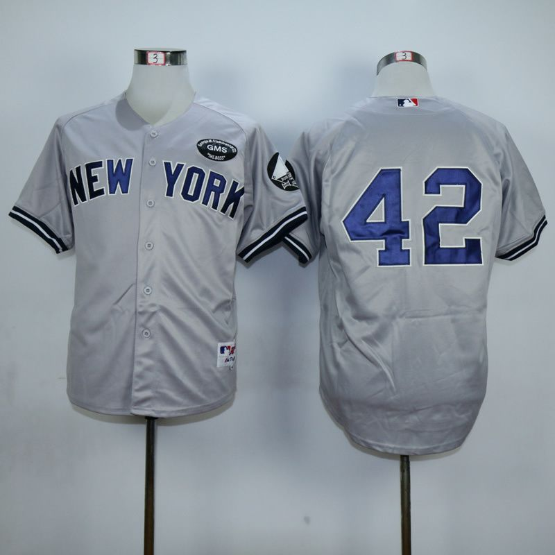 Men New York Yankees 42 Rivera Grey MLB Jerseys1
