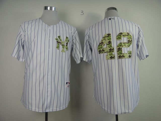 Men New York Yankees 42 Rivera White Camo MLB Jerseys