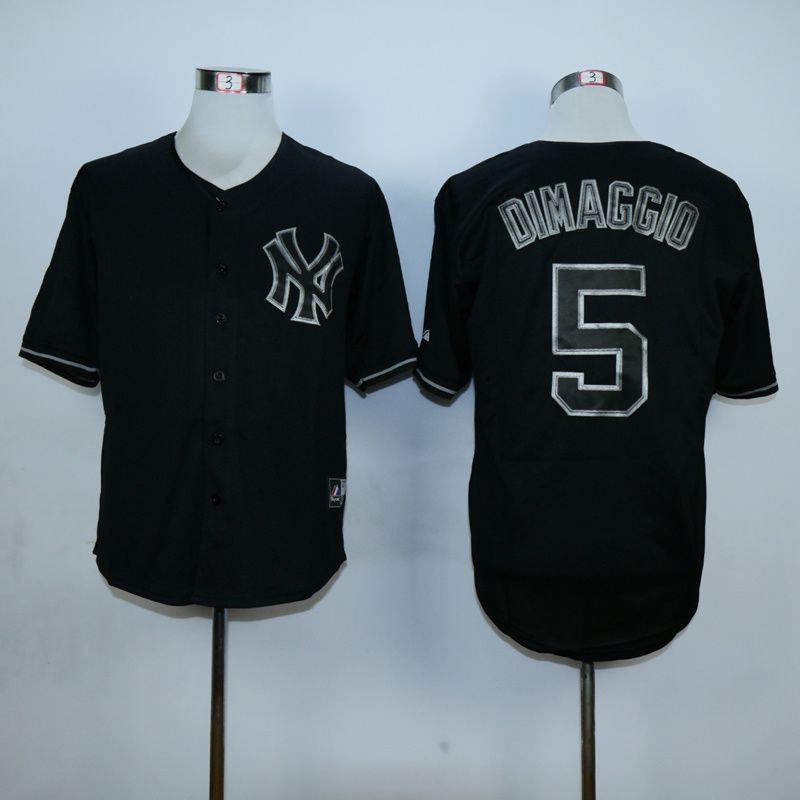 Men New York Yankees 5 Dimaggio Black MLB Jerseys