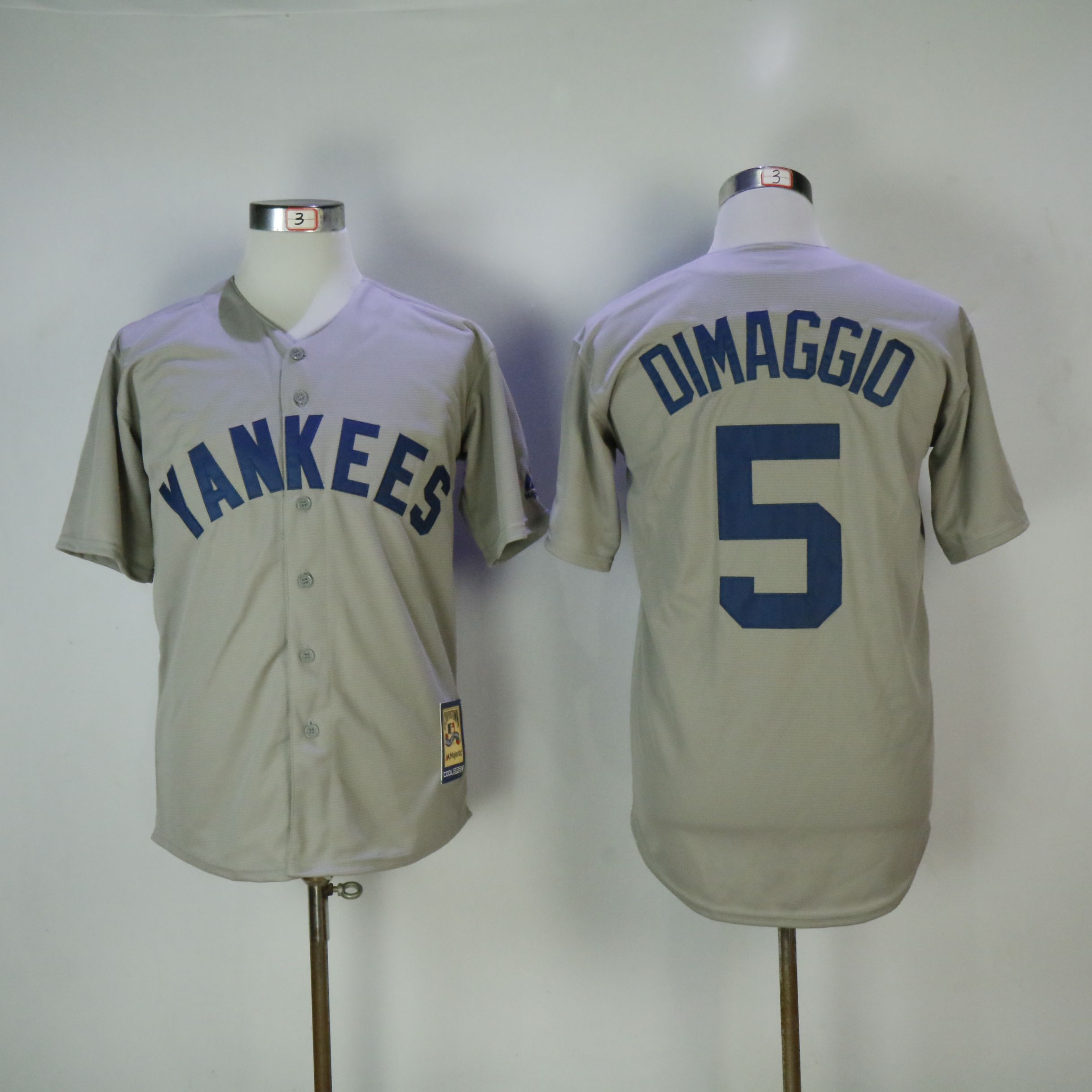 Men New York Yankees 5 Dimaggio Grey MLB Jerseys