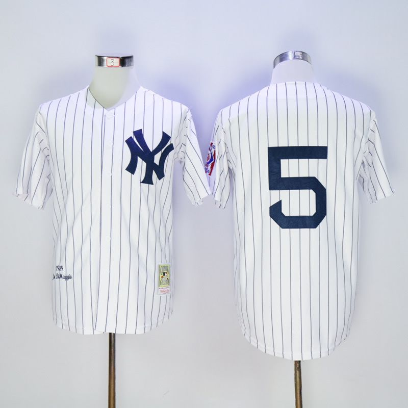 Men New York Yankees 5 Dimaggio White MLB Jerseys