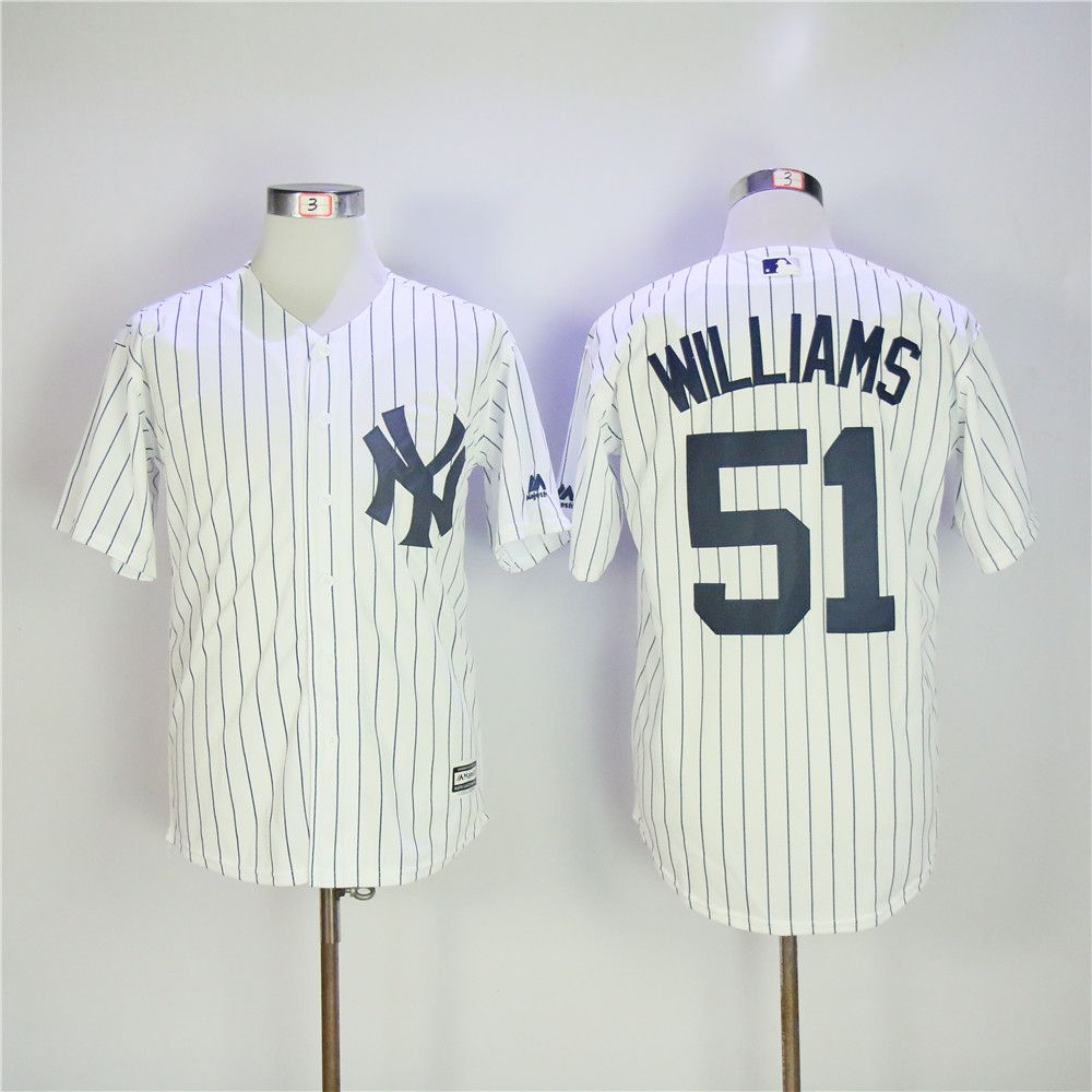 Men New York Yankees 51 Williams White MLB Jerseys