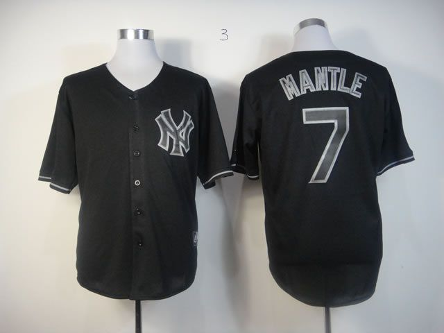 Men New York Yankees 7 Mantle Black MLB Jerseys